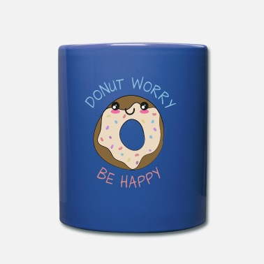 Anniversary Inspirational Funny Pun Donut Worry Be Happy - Mug