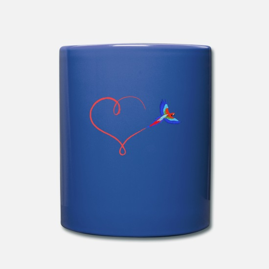 Gift Idea Mugs & Drinkware - Heart parrot ara love trajectory gift - Mug royal blue
