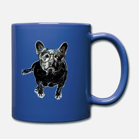 Pet Mugs & Drinkware - Dog lovers> Pug with nerd glasses - Mug royal blue