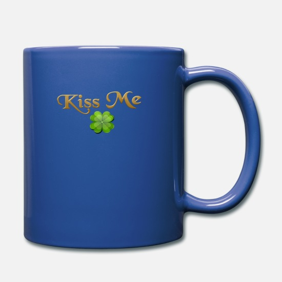 Gold Mugs & Drinkware - Kiss me - lucky clover - Mug royal blue