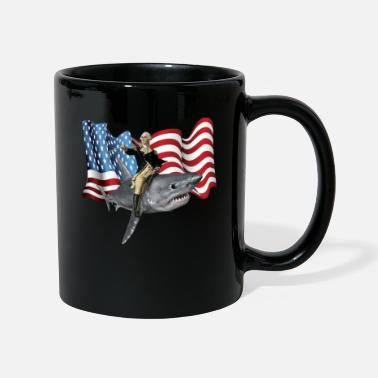 Design 4th of July Washington Riding A Shark Patriotic - Mug