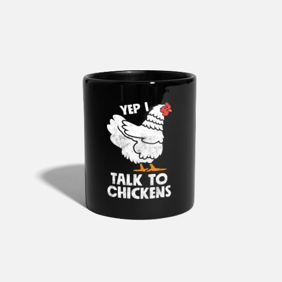 Chicken Mugs & Drinkware - Yes I Talk To Chickens - cute funny chicken - Mug black
