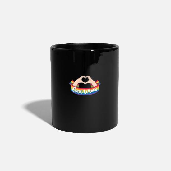 Gay Pride Mugs & Drinkware - Love LGBT Wins Gay Pride Rainbow Coming Out - Mug black
