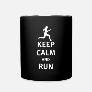 Keep Calm And Keep Calm and Run - Tasse einfarbig