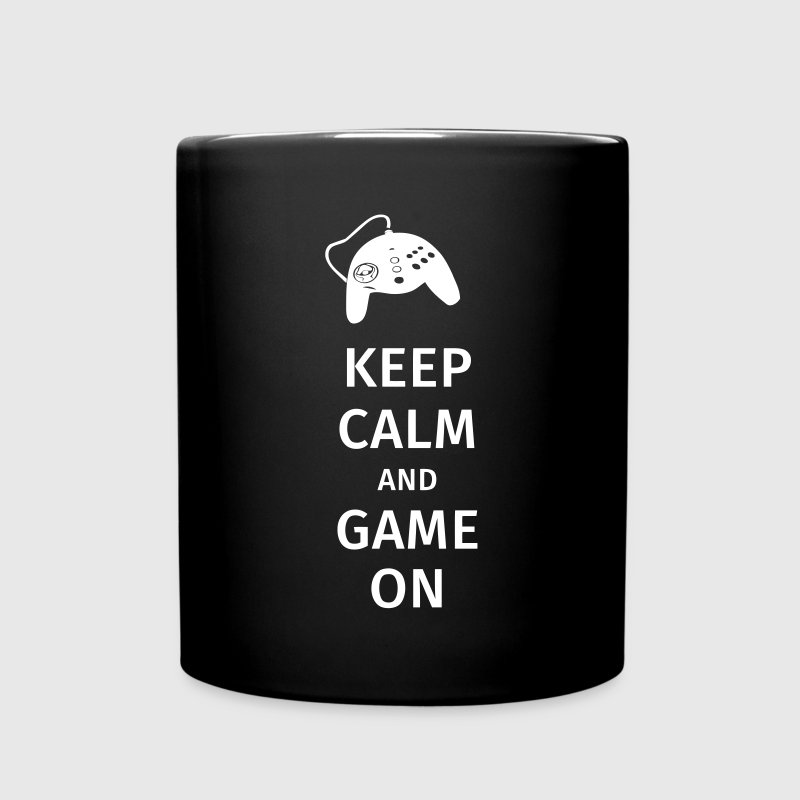 keep calm and game on - Ensfarvet krus