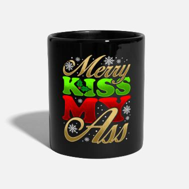 Kiss Citation de cadeau de Noël de Merry Kiss My Ass - Mug