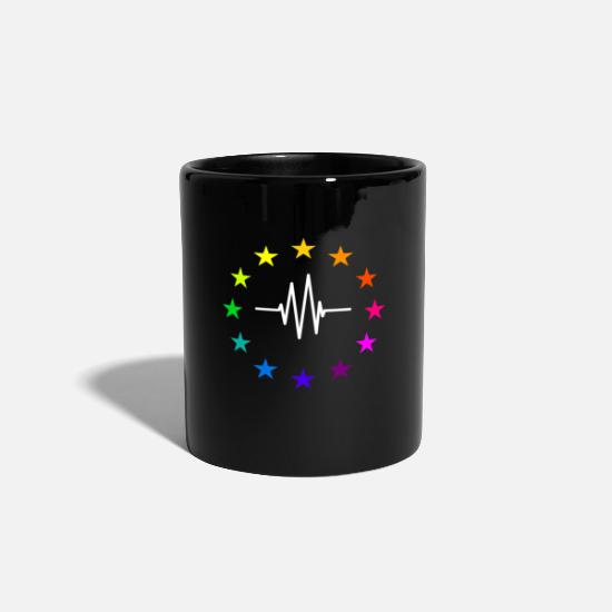 Eu Mugs & Drinkware - Europe EU stars in rainbow colors with pulse line - Mug black
