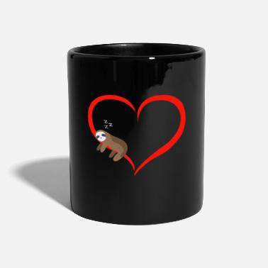 Sloth Sleeps Red Heart Valentine's Day Gift - Mug