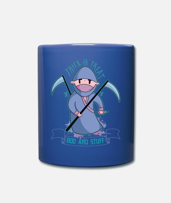 Lantern Mugs & Drinkware - Halloween grim reaper death scary gift - Mug royal blue