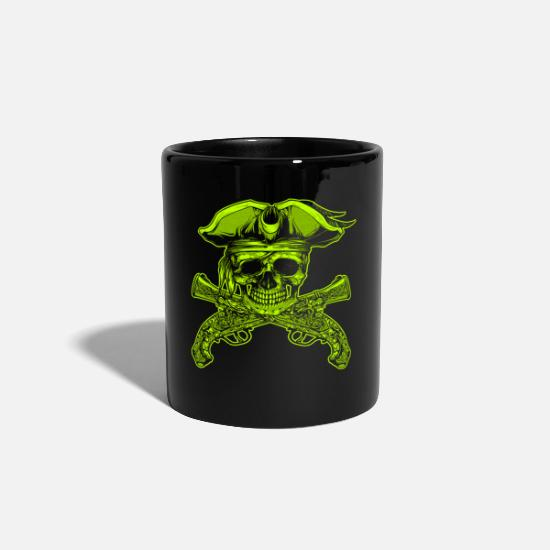Pirate Skull Mugs & Drinkware - Pirate piracy Halloween cannons skull - Mug black