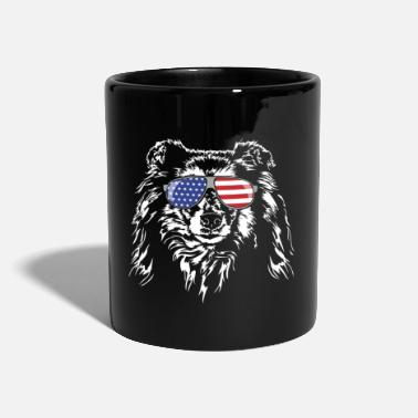 Long-haired Long-haired Herd Dog Long haired COLLIE America flag Wilsigns dogs - Mug
