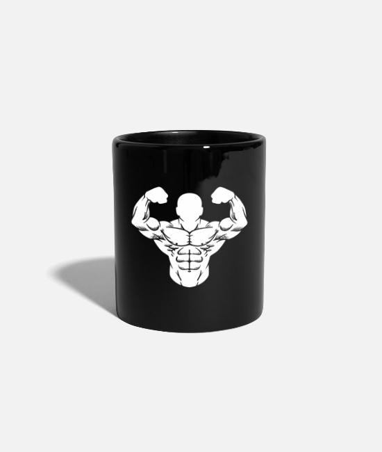 Training Mugs & Drinkware - Bodybuilder Strong Man Toning Muscle Sport - Mug black