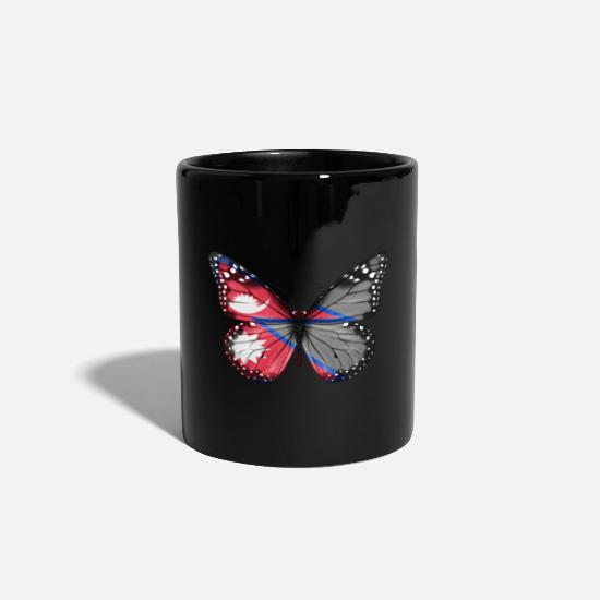 Father's Day Mugs & Drinkware - Butterfly Flag Of Nepal - Mug black