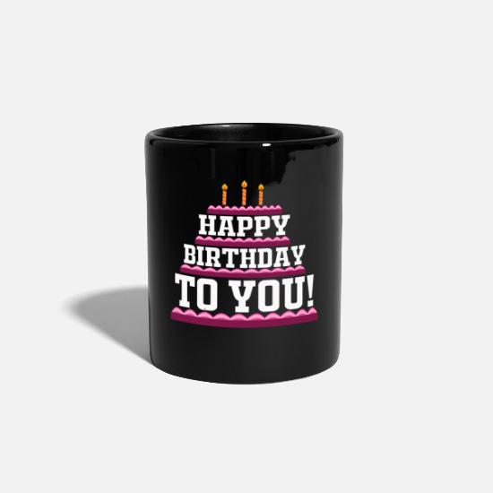 Birthday Mugs & Drinkware - Birthday cake Happy Birthday retro gift - Mug black