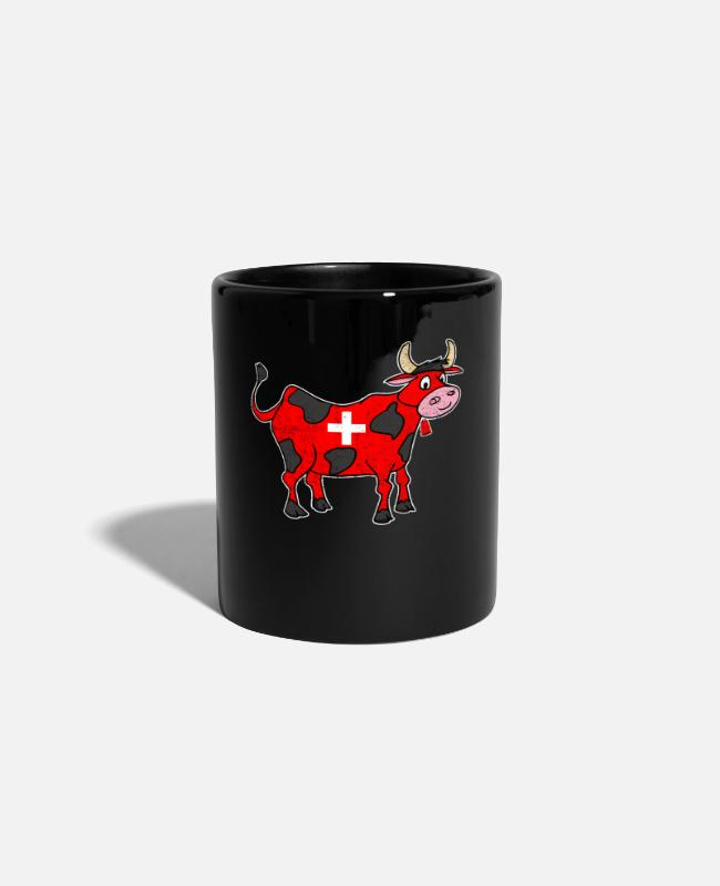 Alps Mugs & Drinkware - Swiss cow cross sweet gift - Mug black