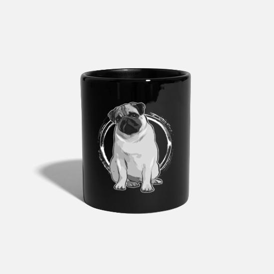 Pug Mugs & Drinkware - funny pug puppy dog animal look cute - Mug black