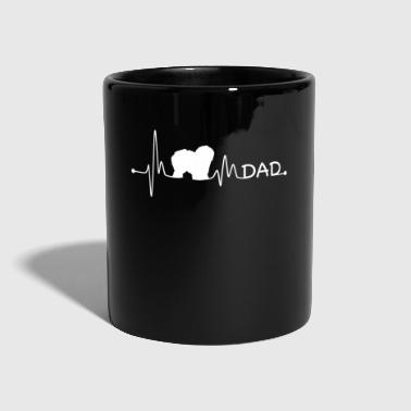 Tag Heartbeat Pulse Line Engelsk Sheepdog Dad Dog Gift - Ensfarvet krus