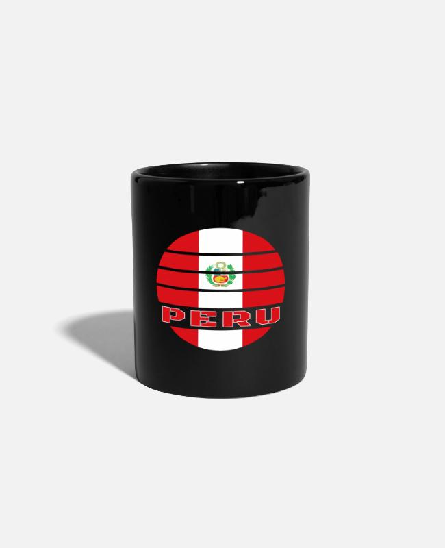 South America Mugs & Drinkware - Peru Circle / National Flag Gift South America - Mug black