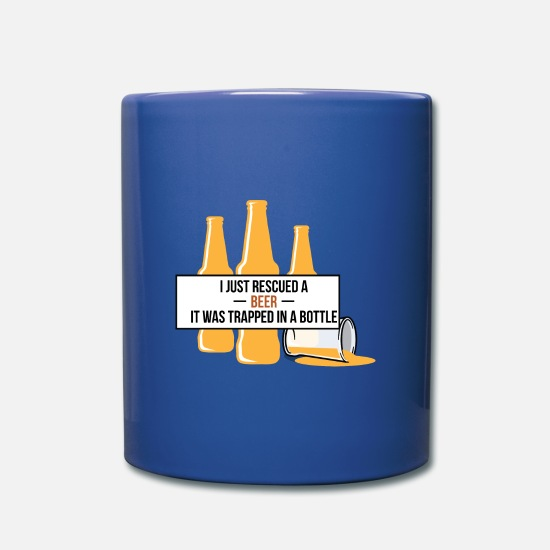 Craft Beer Mugs & Drinkware - Rescued A Beer Trapped In A Bottle Cheers Gift - Mug royal blue