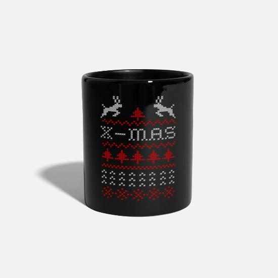 Stag Mugs & Drinkware - X-mas ugly sweater design for green - Mug black
