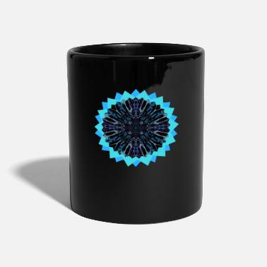 Reiki Mandala Blue Black Neon - Taza de un color