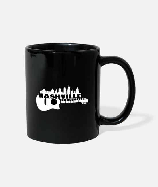 Usa Mugs & Drinkware - Nashville Tennessee guitars silhouette - Mug black