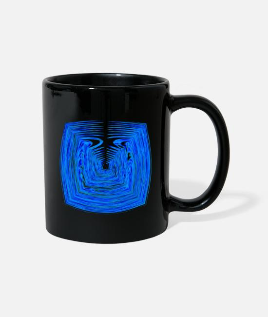 Circular Mugs & Drinkware - Wave angle blue - Mug black