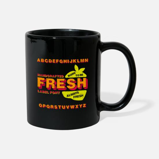 Characters Mugs & Drinkware - Fresh Label Font - Mug black