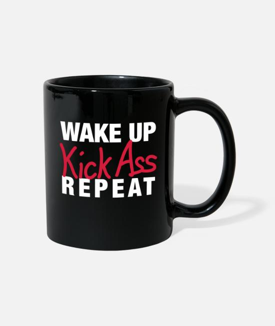 Lehrer Tassen & Becher - Wake up - Kick Ass - Repeat - Tasse Schwarz