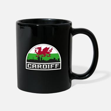 Kingdom Cardiff Wales Skyline Silhouette Welsh Flag Travel - Mug