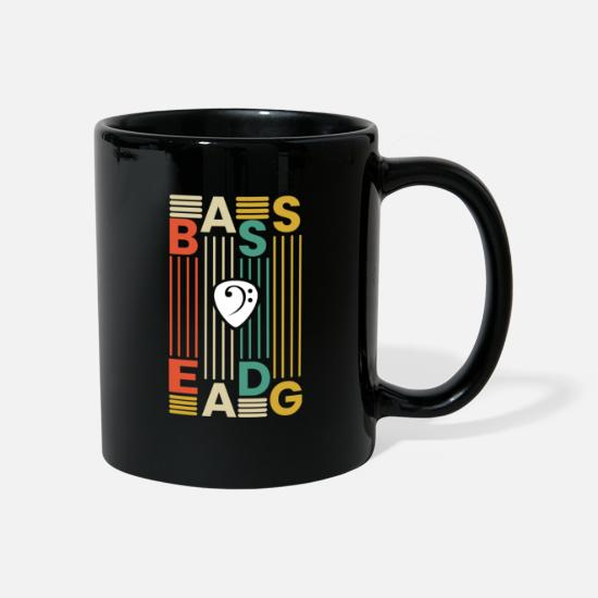 Guitar Player Mugs & Drinkware - Rock Guitar Bass Guitar Music Retro Vintage - Mug black