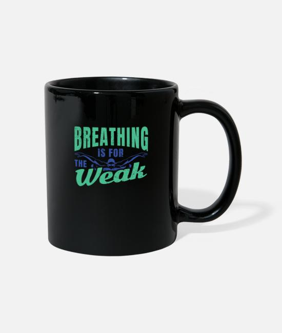 Ass Mugs & Drinkware - Breathing is for the weak funny swimming design. - Mug black
