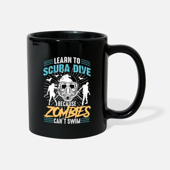 Waves Mugs & Drinkware - Learn to dive Zombies can not swim - Mug black
