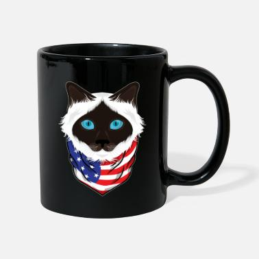 Black Forest Cat Lover American Flag Gifts British Longhair - Mug