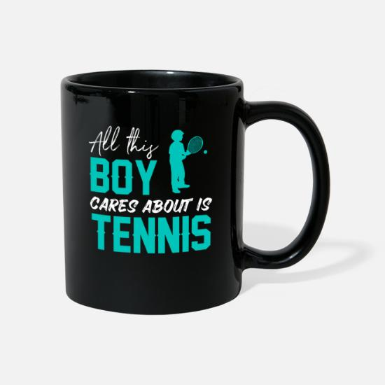 Birthday Mugs & Drinkware - Tennis boy guys gift - Mug black