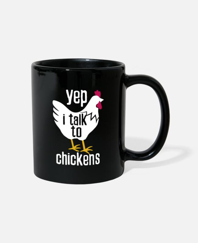 Proud Mugs & Drinkware - I talk to chickens for farmer on the farm - Mug black