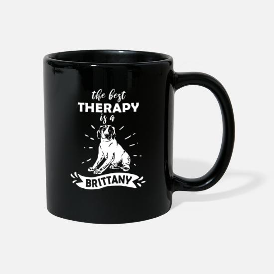 Dog Mugs & Drinkware - The Best Therapy Is A Brittany Dog Gift - Mug black