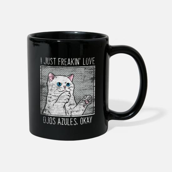 Birthday Mugs & Drinkware - Ojos Azules cat - Mug black