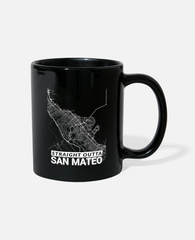 Mateo Mugs & Drinkware - Straight Outta San Mateo city map and streets - Mug black