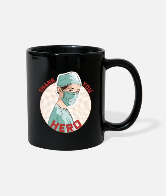 Hero Mugs & Drinkware - THANK YOU HERO NHS and Keyworkers - Mug black