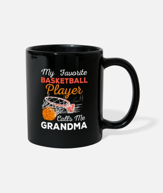 Ball Mugs & Drinkware - My Favorite Basketball Player Calls Me Grandma - Mug black