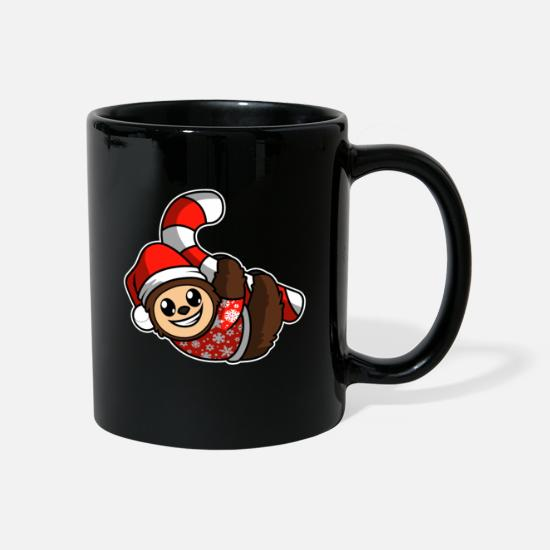 Sloth Mugs & Drinkware - Merry Christmas sloth candy cane - Mug black