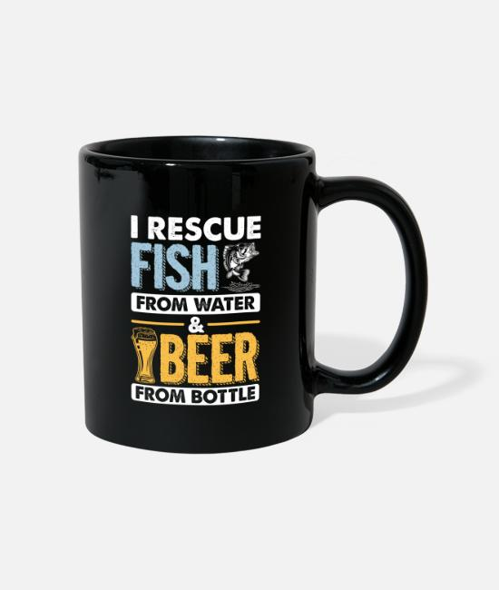 Funny Freeletics Mugs & Drinkware - I Rescue Fish From Water Beer From Bottle Funny - Mug black