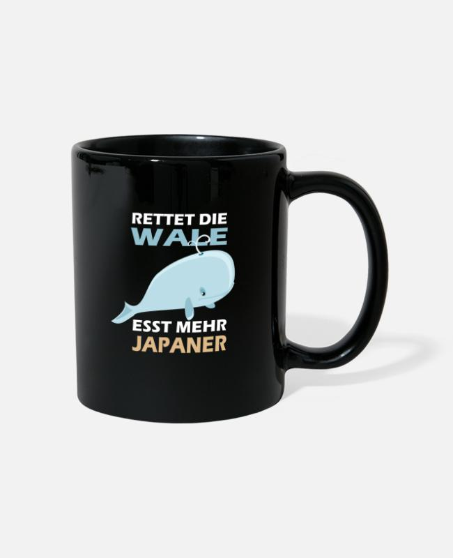 Water Mugs & Drinkware - Save the whales Eat more Japanese for Tourette's - Mug black