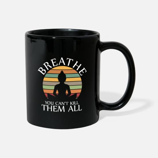 India Mugs & Drinkware - Breathe you cant kill them all Yoga Retro - Mug black