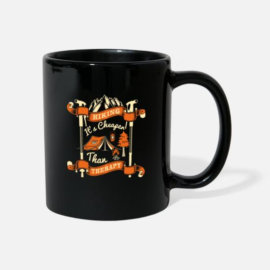 Birthday Mugs & Drinkware - Hiking Its's Cheaper than therapy - Mug black