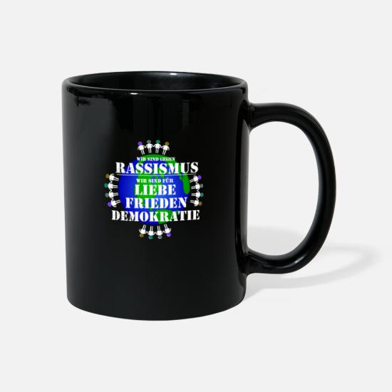 Racism Mugs & Drinkware - Against racism anti racism fascism - Mug black