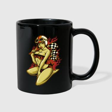 Hot Pin-Up Girl with Racing Flag - Tasse einfarbig