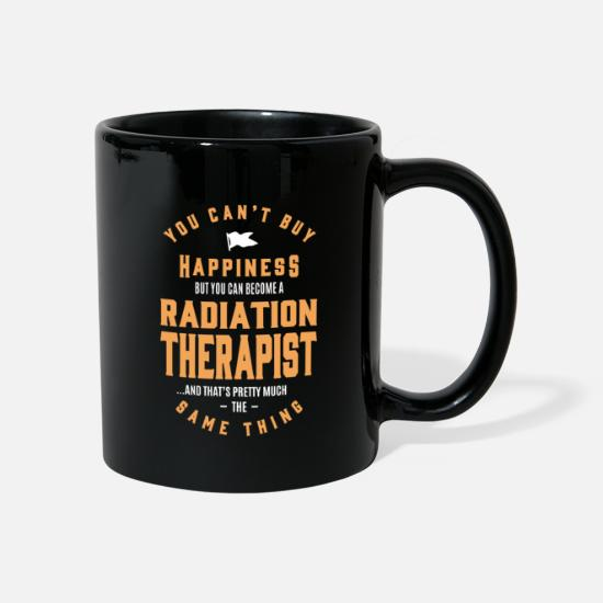 Typography Mugs & Drinkware - Happiness Radiation Therapist - Mug black