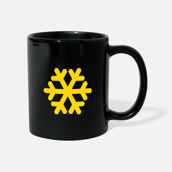 Yellow Mugs & Drinkware - yellow snowflake - Mug black
